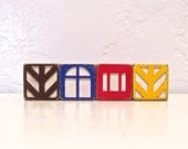 little houses - vintage wooden blocks