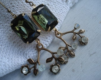 Vintage Olivine and Antique Crystal Glass Rhinestone Gold Dangle Earrings Woodland Flowers