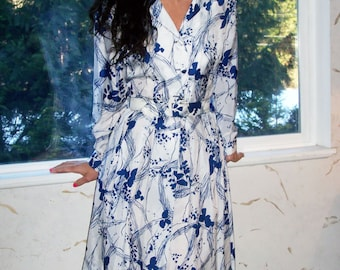 Vintage 50s Mode O Day Silk Rayon White and Blue Sexy Classic Pleated Dress