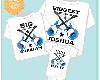 Set of Three Personalized Biggest Brother, Big Brother and Little Brother Shirt or Onesie (05172013a)