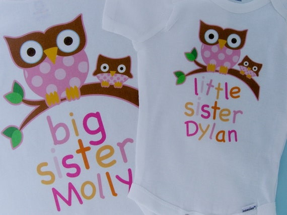 Big Sister Little Sister Outfit shirt, Owl Onesie or Shirt Set Personalized Owl Outfit or Onesie Set of Two - Price is for both 04192012a