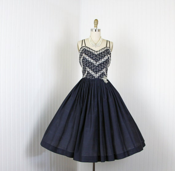 S dress vintage navy white embroidered roses