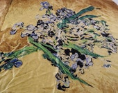 Sale Vintage Gold Silk Scarf with Blue Iris Bouquet Fine Art Large square scarf Free shipping