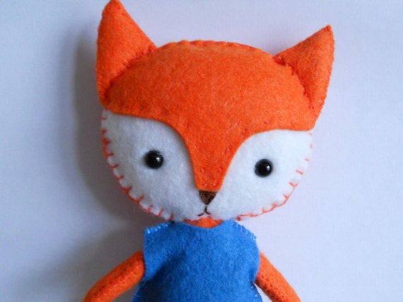Stuffed Animal Pillows With Pockets : Plush Fox stuffed felt animal doll pocket pets by missbaah