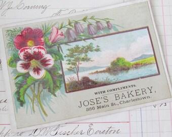 Antique Victorian Trade Card Jose's Bakery Charlestown - Boston    M249
