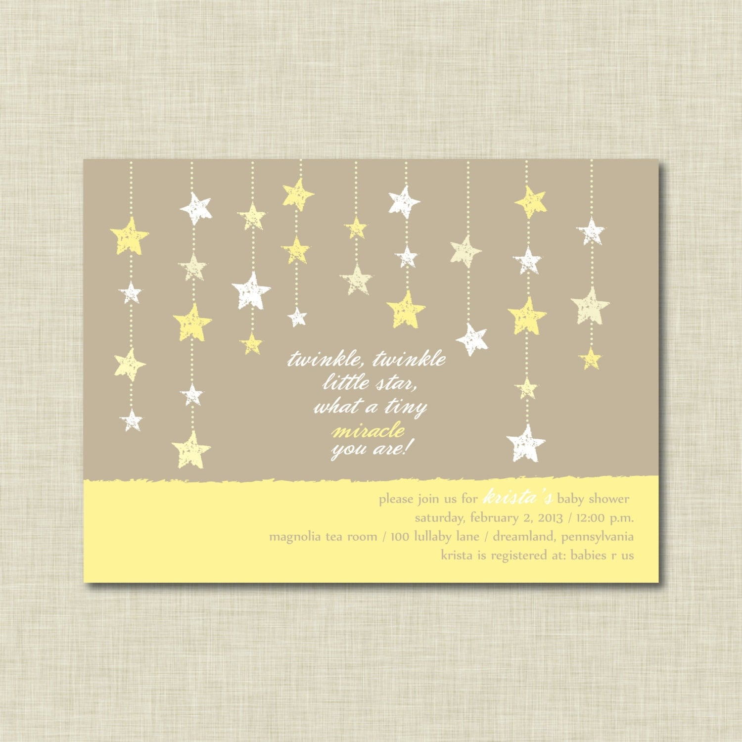 twinkle twinkle little star baby shower invitation by ambermangle