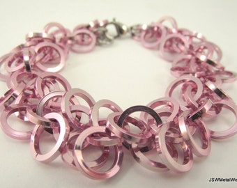 Light Pink Chainmaille Bracelet - Chainmail Aluminum Bracelet - Chain Mail Bracelet - Renaissance Fair Jewelry - Gift for Her