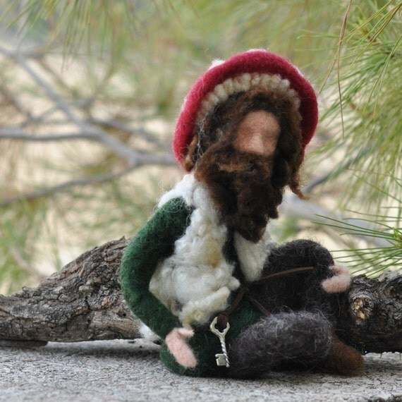 Needle Felted  Waldorf  Guardian Gnome/ Mushroom Gnome-Soft Sculpture - Inspired