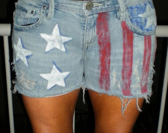 Levis One of a kind USA Flag Shorts 4th of July Shorts Hand Painted cut-offs Levis shorts by Bohemianrag