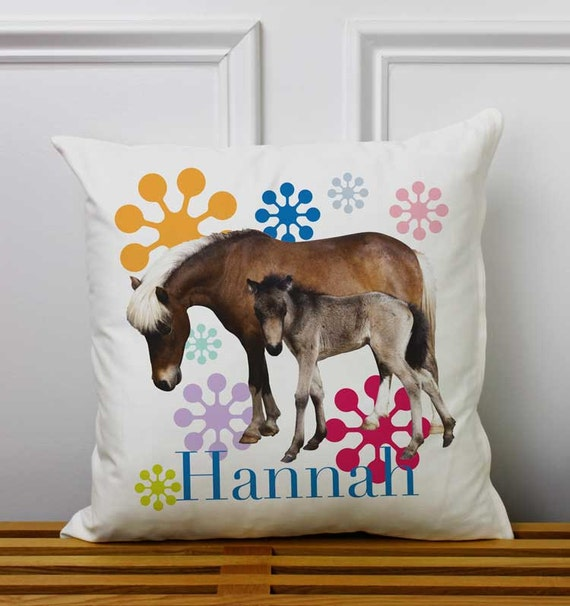 Children Decorative Pillow Horses 15x15in Cute Personalized