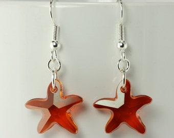 Swarovski Crystal Blood Orange Red Starfish Earrings