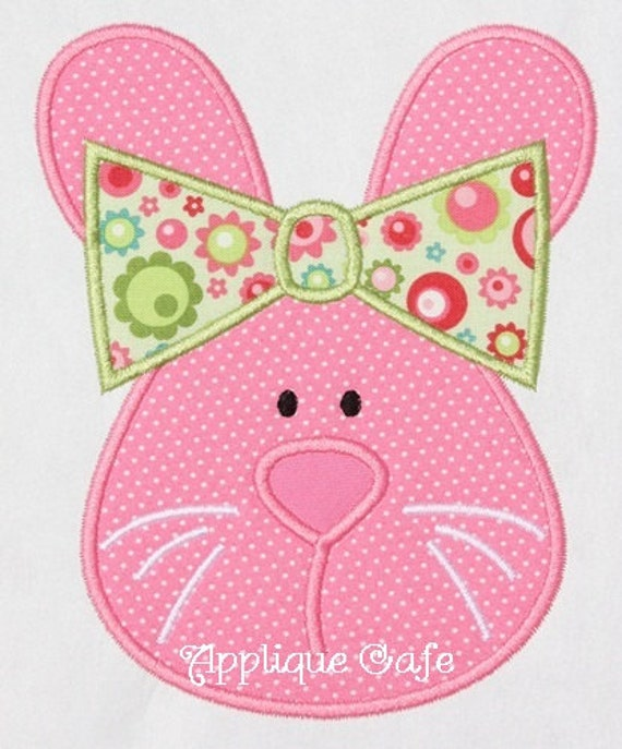 Girl bunny machine embroidery applique design