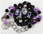 Soul Eater Dr. Stein Cameo Necklace, Black and Purple - Decoden, Gothic Lolita