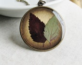 Pressed Plant Leaves Botanical Necklace Spirea Leaf Plant Botanical Jewelry Resin Antique Brass Chain