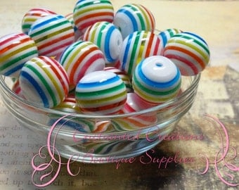 20mm White Rainbow Stripe Beads Qty 10