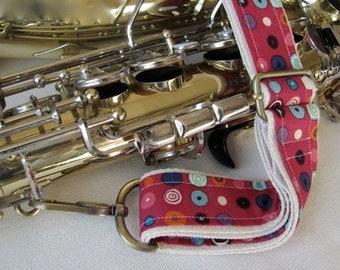 "Saxophone Neck Strap, 1.5"", Heavy Duty, Pink Polka Dot, Brass Hardware"