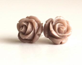 Pink rose stud earrings - dusky pink - rosebud earrings - vintage bride bridesmaid spring