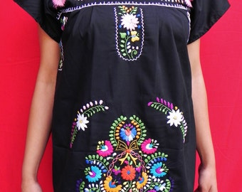 Mexican Black Mini Dress Fantastic Embroidered Colorful Floral Handmade Elegant Party Small