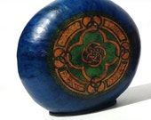 Gourd Lamp Blue with Celtic Knot