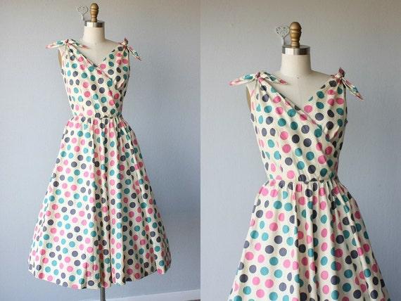 vintage 1950s party dress / 50s dress / 50s sundress / polka dot dress - size small