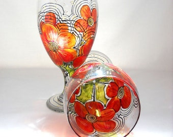 Orange Flower Goblets Hand Painted Glassware Free Shipping