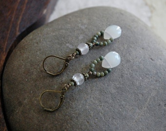 Jasper and Quartz - Gemstone Ear Dangles