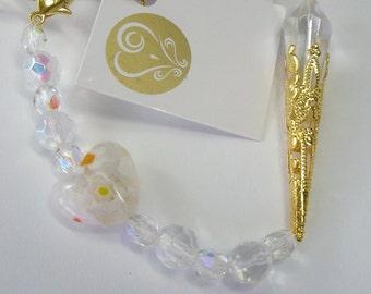 White gold bling wedding suncatcher, good luck gift, bridal favor, with gift card.