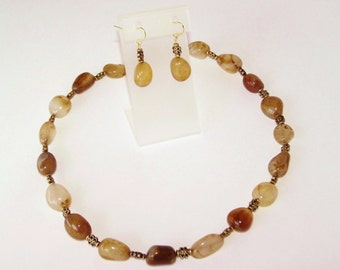 Variegated Brown Natural Stone Necklace and Earring Set