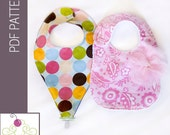 Binky Pacifier Bib PDF Sewing Pattern AND Front Closure Bib PDF Sewing Pattern - 2 Patterns for 1 Price - From The Sweetest Patterns