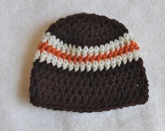 baby boy newborn photo prop hat, baby boy hat, brown and orange
