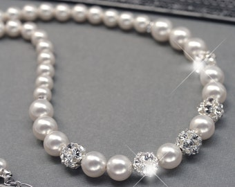 Wedding Pearl Necklace, Pearl and Rhinestone Ball Necklace, Pearl Strand, Bridal Jewelry, White Pearls or Ivory Pearls