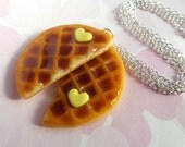 polymer clay best friend round waffle necklaces or key chains with heart shaped butter - bff valentine's day