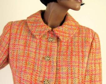 60s Skirt Suit Vintage Mod Mad Men Jacket Orange Pink Tweed Small