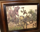 SALE - Dinosaur Wall Art Decor - Boys Name Sign - Personalized - Unframed 8x10 Mat - Other Designs Available