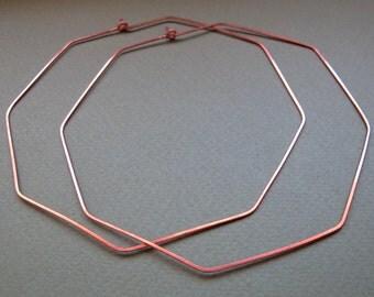Octagon Hoop Earrings - 2 inch Geometric Earrings - Copper Medium Hoops - Modern Jewelry - Octagon Earrings - Modern Earrings