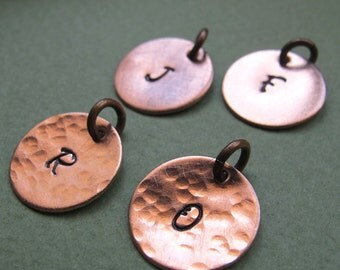 Hand Stamped Copper Charm. Personalized Disc Tag. Hammered Initial Letter Pendant Necklace Add on / Necklace Charms / Engraved Disc Dangles