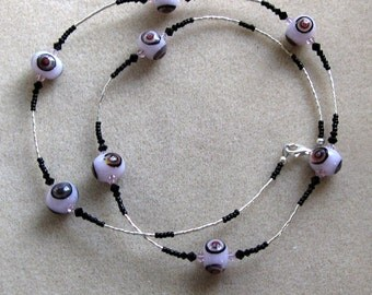 Pink SRA lampwork, Swarovski crystals, seed beads and liquid silver necklace - OOAK HiloBeads