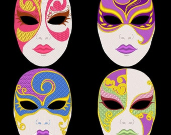 FANTASY CARNIVAL MASKS - 36 Machine Embroidery Designs Instant Download 4x4 5x7 6x10 hoop (AzEB)