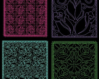 ROSE QUILTING BACKGROUNDS - 36 Machine Embroidery Designs Instant Download 4x4 5x7 6x10 hoop (AzEB)