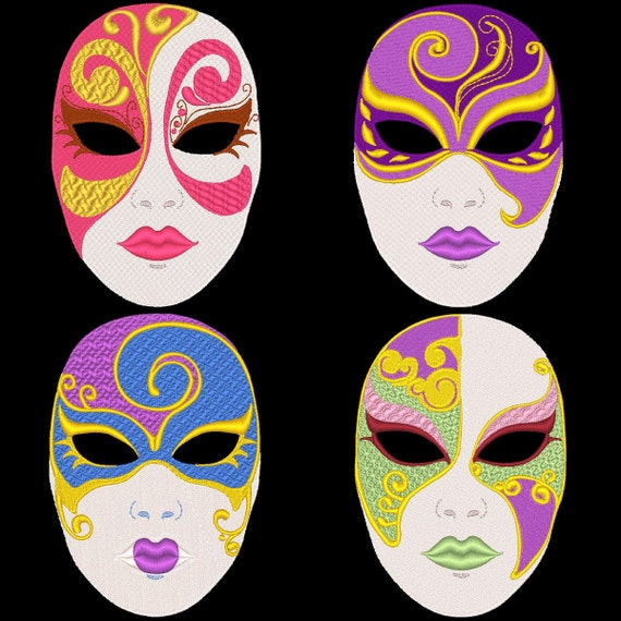 Mask Decorating Ideas: FANTASY CARNIVAL MASKS 36 Machine Embroidery Designs Instant