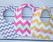 THREE Custom bibs, Personalized bib, Monogrammed bib, Baby shower gift, Seersucker bib, You Customize