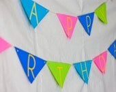 Custom Triangle Banner / Garland - Pink, Blue and Green