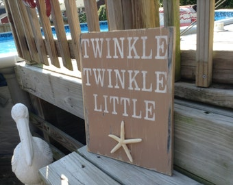 Beach Sign Twinkle Twinkle Little Starfish Nursery and Coastal Decor