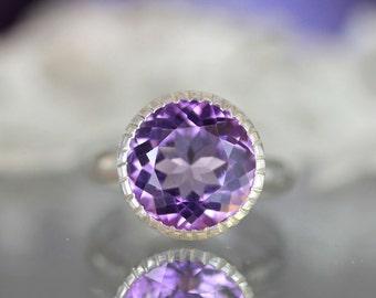 Purple Amethyst Sterling Silver RIng, Cocktail RIng, Gemstone Ring, Milgrain Details In No Nickel / Nickel Free - Made To Order