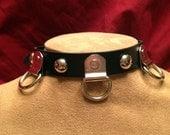 Multi D Ring Leather Collar