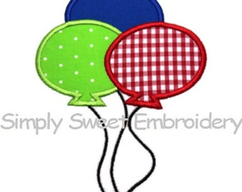 Three Balloons Machine Embroidery Applique Design