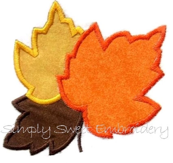Three Leaves Machine Embroidery Applique Design