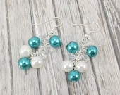 Earrings - Glass Pearl Cluster - Aqua Blue and White with Clear Beads - Montana Blue