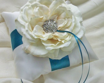 Ivory OR White and Teal Ring Bearer Pillow