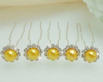 Silver Rhinestone Yellow Pearl Hair Pins 5 piece Bobby Pins